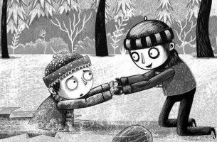 Niño ayudando a otro
