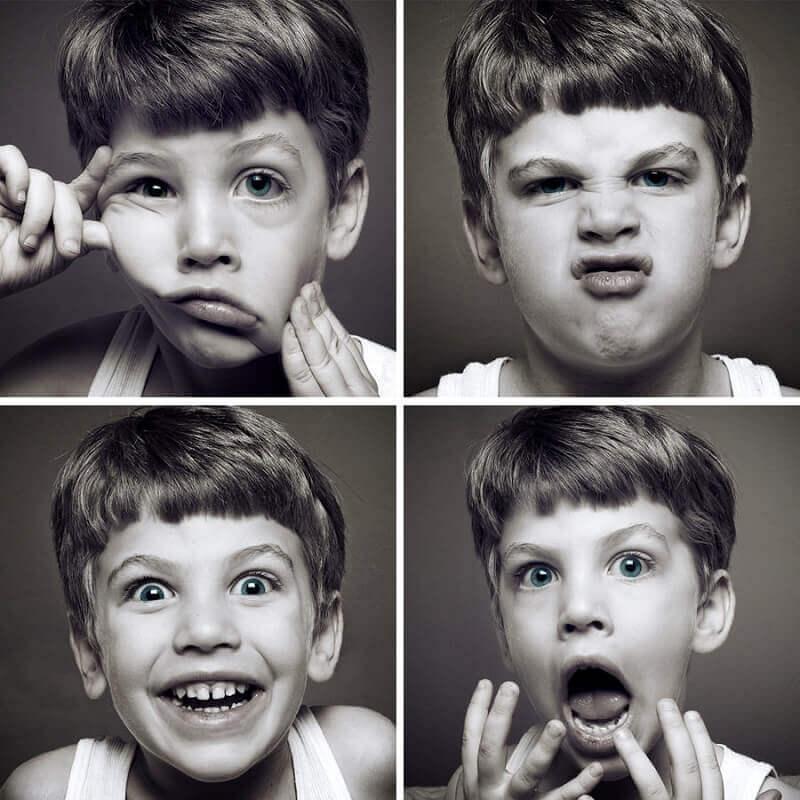 Niño con diferentes caras expresando emociones