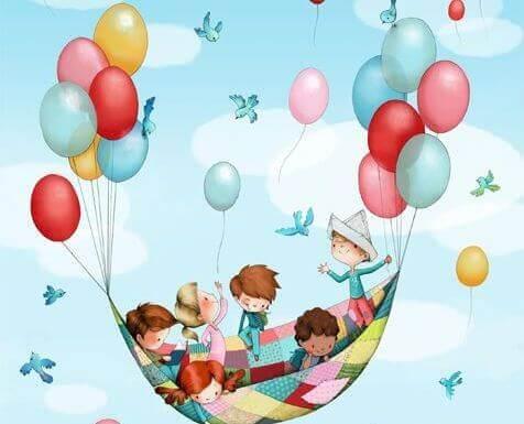 Niños en globo pensando en un cuento