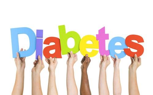 Palabra diabetes con letras de colores