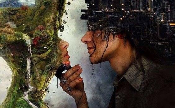 Pareja mirándose simbolizando el estar enamorado de una ilusión