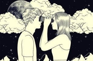 pareja mirándose con prismáticos simbolizando las frases de Giorgio Nardone