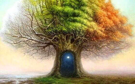 Árbol donde hay una puerta