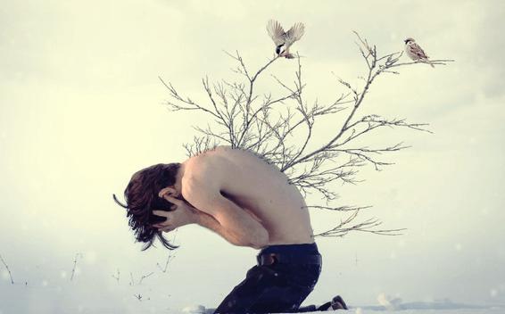 hombre con ramas en la espalda como efecto de los tipos de apego