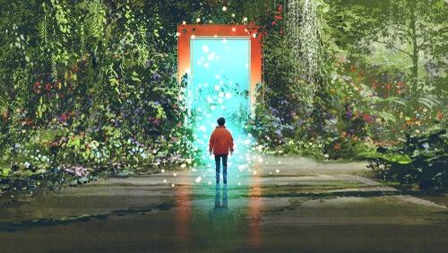 Chico delante de una puerta simbolizando cómo conectar con una persona introvertida
