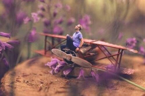 chico con avión simbolizando la teoría de los pequeños logros