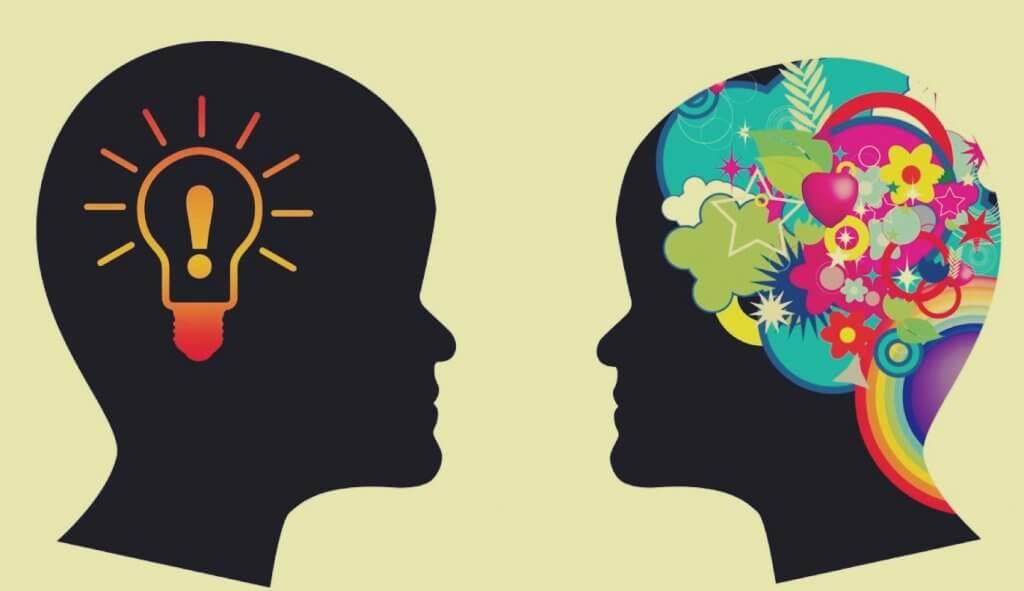 Dos cabezas con símbolos