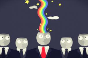 Hombre con arco iris en la cabeza