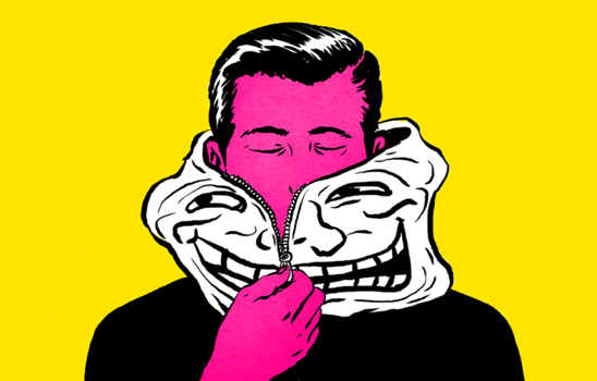 hombre representando el efecto de los trolls