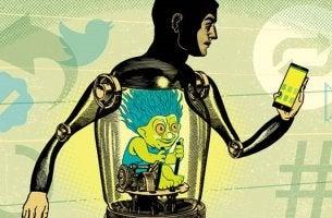 Hombre representando el comportamiento de los trolls