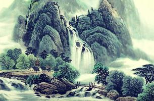 ilustración oriental simbolizando las cualidades del agua según el Tao