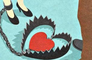 mujer con cepo y corazón simbolizando las personas adictas a las relaciones