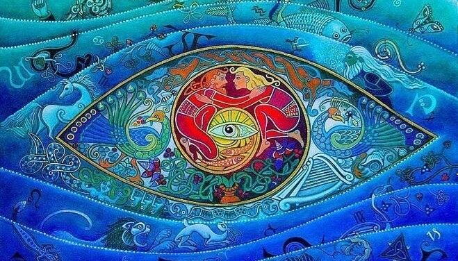 ojo rodeado de figuras simbolizando el inconsciente colectivo de Carl Jung