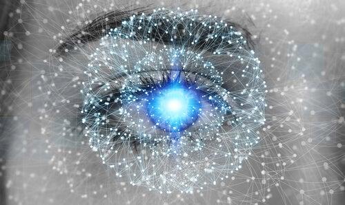 Ojos con puntos practicando la meditación vipassana