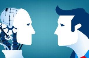 Perfil de robot frente a un hombre para representar el síndrome Frankestein