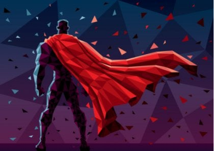 Superman de espaldas