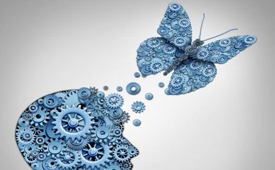 cabeza con mariposa simbolizando la teoría del caos