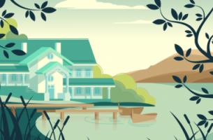 Casa en un lago