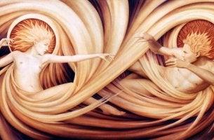 figura masculina y figura femenina simbolizando la La psicología de la alquimia de Jung