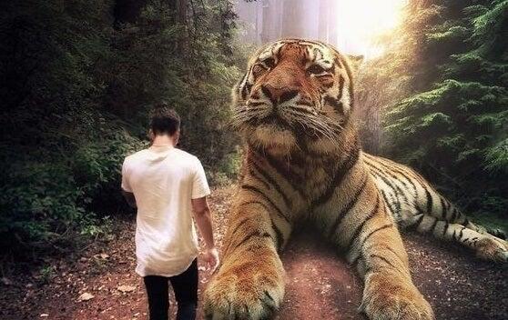 hombre ante tigre simbolizando el querer sentirse importante