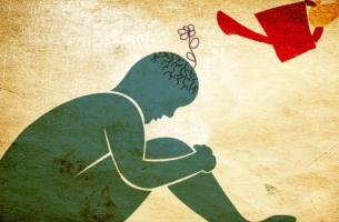 persona con regadera en la cabeza simbolizando la terapia junguiana para tratar la ansiedad