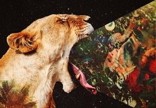 león vomitando simbolizando las acciones que dañan la salud
