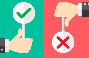 mano con simbolo positivo y simbolo negativo representando el control aversivo y control apetitivo