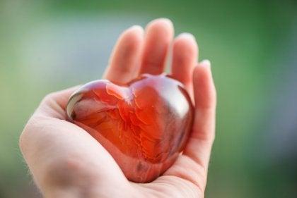 Mano sujetando un corazón de cristal simbolizando los proverbios persas