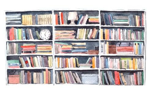 Muchos libros en una estantería