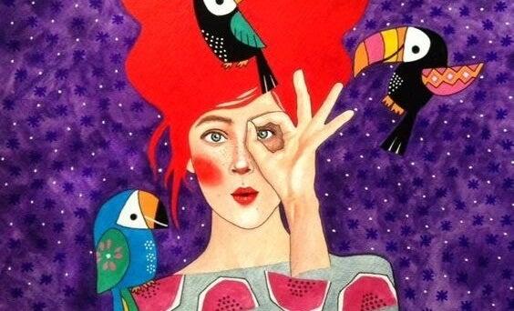 mujer haciendo gestos simbolizando los rasgos de las personas emocionalmente fuertes