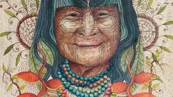 indigena con los efectos de la ayahuasca