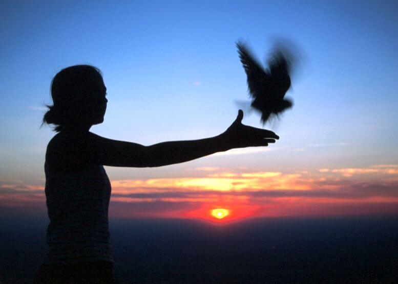 mujer soltando paloma simbolizando cómo ser feliz después de haber vivido una infancia traumática