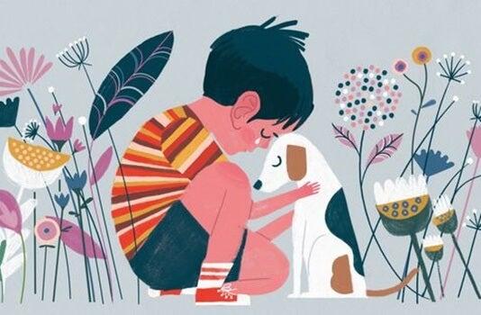 niño llorando con su perro simbolizando la parábola de la casa sin amo