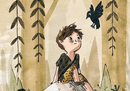 niño mirando cuervo simbolizando la parábola de la casa sin amo