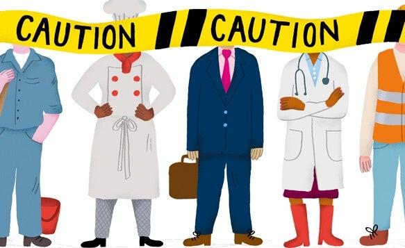 personas detrás de una cinta de precaución simbolizando el modo en que técnica que manejan las personas inteligentes a las personas tóxicas