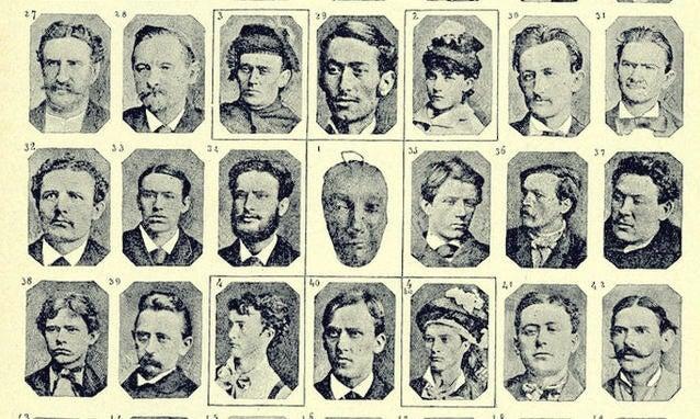 rostros de criminales representando la clasificación de Cesare Lombroso