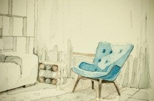 Silla azul en un salón para representar uno de los espacios de la casa