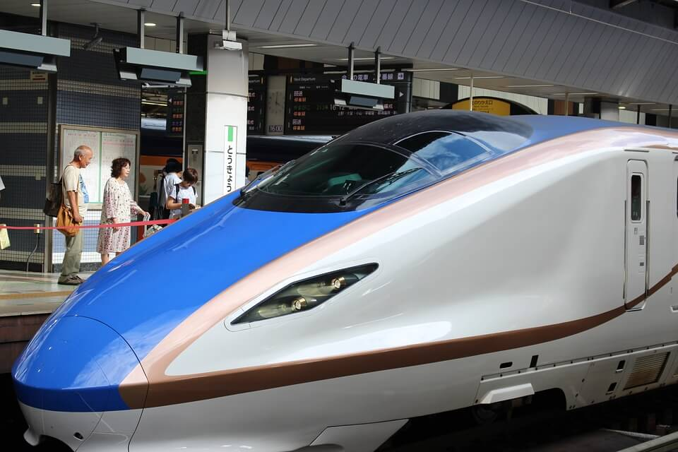Bullet train representing the Shinkansen effect.