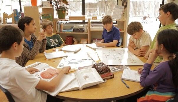 alumnos llevando a cabo el trabajo cooperativo estructurado