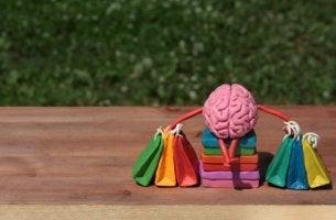 Cerebro con bolsas de la compra para representar el cerebro del consumidor