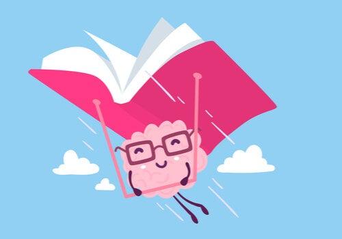 Cerebro volando con un libro para representar el efecto de la lectura en el cerebro