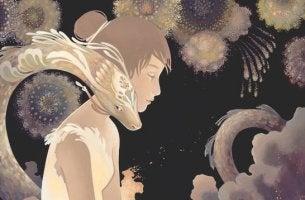 chica con dragón simbolizando la teoría de los pequeños logros