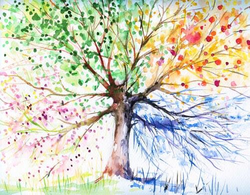 Dibujo de un árbol de colores