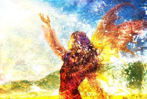 Dibujo de una mujer con alas para representar el arquetipo de la ira transformadora