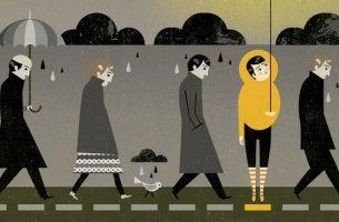 figuras representando las diferencias entre tristeza y depresión