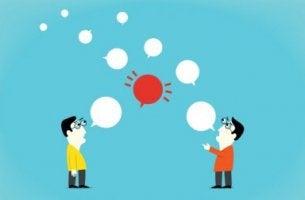 Figuras teniendo una conversación