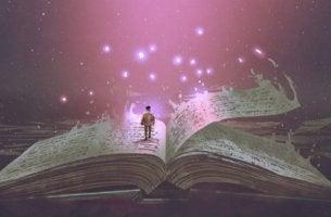 Hombre encima de un libro grande pensando en el futuro para representar las novelas distópicas