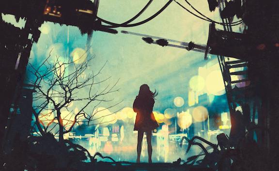 chica ante ciudad pensando en la intuición e instinto