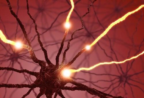 Neurona con impulsos eléctricos para representar el concepto de neurogénesis