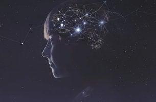 niña con constelaciones en el cerebro conformando la la consciencia